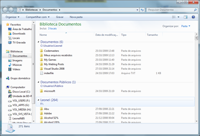 Biblioteca Documentos do Windows 7