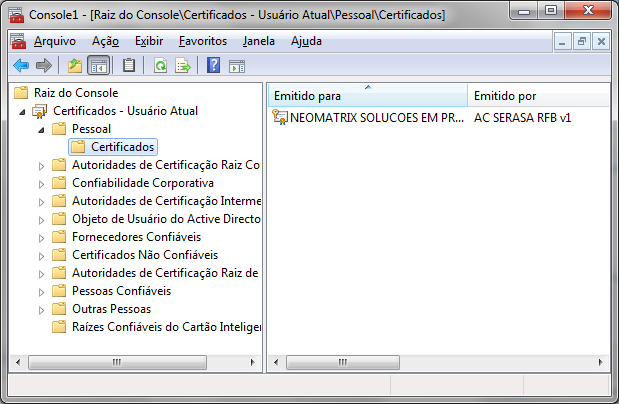 Gerenciador de Certificados do Windows