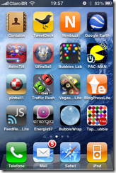 Screenshot do iOS 4 rodando no meu iPhone 3GS.